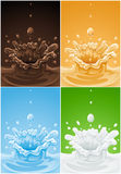 Set of various splash drink liquids Stock Image