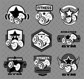 Set of various sports and fitness logo Royalty Free Stock Photos
