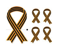 Set of various St George striped black and orange ribbons isolated on white. Vector illustration symbol Victory day Stock Image