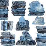 Set of various stacked jeans Stock Image