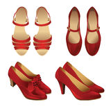 Set of various style red shoes Stock Image