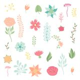 Set of various stylized flowers and elements Royalty Free Stock Photo