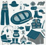 Set of various stylized icons for fishing Stock Photo