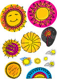 Set of Various Suns. Set of 12 sun illustrations from space, the sky and sunset Royalty Free Stock Images