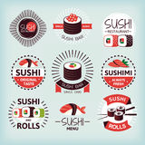 Set of various sushi labels Royalty Free Stock Image