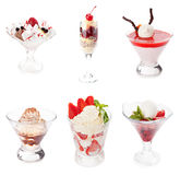 Set of various sweet desserts. On white background Royalty Free Stock Photo