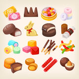Set of various sweets. Set of top popular sweet desserts for halloween, easter, christmas. Chocolate bars, candies and other sweet food Royalty Free Stock Images