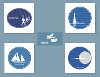 Set of various symbols . Set of various symbols on a blue background Stock Photos