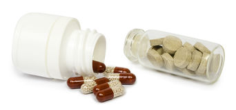 Set of various tablets for the treatment or weight loss. Isolated Stock Image