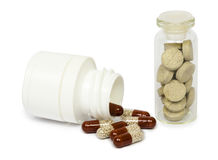 Set of various tablets for the treatment or weight loss. Isolated Royalty Free Stock Image