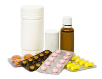 Set of various tablets for the treatment or weight loss. Isolated Royalty Free Stock Photo