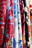Set of various textile with traditional uzbek embroidery Stock Photo