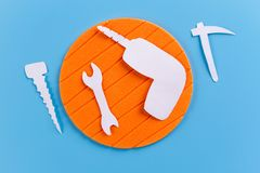 Set of various tools on blue background. Cartoon style stock images