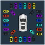 Set of various top view vector sport cars. Isolated vehicle icon. stock illustration