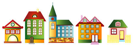 Set of various town houses, vector Royalty Free Stock Photo