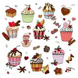 Set of various traditional winter desserts royalty free illustration