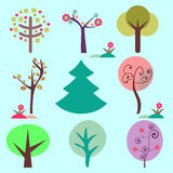 Set of various trees Royalty Free Stock Photography