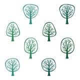 Set of various trees. Illustration Royalty Free Stock Photo