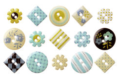 Set of various trendy sewing buttons. Isolated over white background Stock Photo