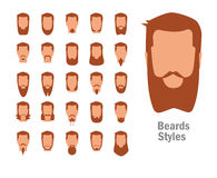 Set with various types of beards. Royalty Free Stock Photos