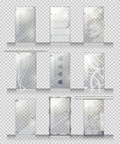 Set of Various Types of Contemporary Glass Doors Stock Photography