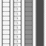 Vector film strip set. Set of various types film strip isolated on transparent background. Camera and cinema films concept. Film countdown numbers. Vector Royalty Free Stock Photos