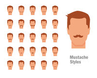 Set with various types of mustaches Royalty Free Stock Image