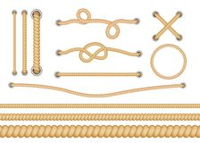 Set of various types of nautical loops and knots for rope. Different types of ropes with knots and loops. Set of vector isolated realistic illustrations royalty free illustration