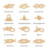 Set of various types of nautical loops and knots for rope. Set of marine knot, sea rope and node. Isolated vector illustration on white background stock illustration
