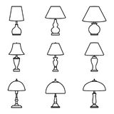 Set of various types of table lamp icon set. Vector line icons. Vector illustration of various forms of table lamp Stock Photography