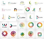 Set of various universal company logos. Letters, business symbols, loops, concepts, arrows, infinity Stock Image