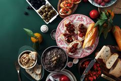 Set of various unusual appetizers royalty free stock images