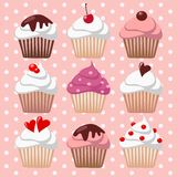Set of various valentines cupcakes, muffins,  illu Stock Images