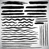 Set of various vector brush strokes, hand drawn lines. Set of various vector brush strokes. Wide and thin lines of different length, waves, stripes, streaks Stock Image