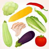 Set of various vegetables. Food template. Stock Photography