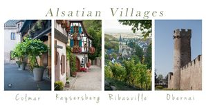 Various views of Alsatian villages - collage with text. Set of Various views of Alsatian villages - collage with text royalty free stock image