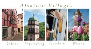 Various views of Alsatian villages - collage with text. Set of Various views of Alsatian villages - collage with text stock photo