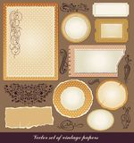 Set of various vintage papers. And decorative elements Royalty Free Stock Photo