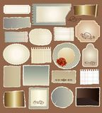Set of various vintage papers. And decorative elements Royalty Free Stock Image