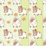 Background with Cute Sheeps. Seamless Pattern Stock Photography