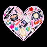 Set of various watercolor decorative cosmetic. Makeup products Stock Images