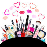Set of various watercolor decorative cosmetic. Makeup products Stock Image