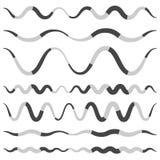 Set of various wavy, curved dashed line, stripe elements. Royalty free vector illustration vector illustration