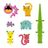 Set of various weird cute bright cartoon сreatures animals monsters. Set collection of unusual cute colored bright strange various cute colorful cartoon weird vector illustration