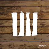 Set of various white torn note papers with adhesive tape. Vector Royalty Free Stock Images