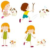Set of various young children and dogs. Illustration vector illustration