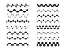 A set various zigzag patterns, wavy, sinusoidal or rickrack repeatable border lines,  horizontally seamless geometrical zig zag vector illustration