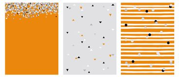 Set of 3 Varius Abstract Vector Layouts. Circle and Triangle Shape Confetti. Gray White and Black Falling Confetti. Orange Background. Triangles Pattern. Gray royalty free illustration