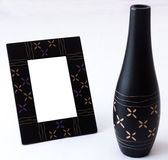 Set of vase and photo frame Royalty Free Stock Photos