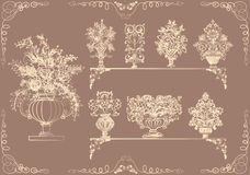 Set of vases with flowers in a retro style Stock Photo